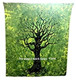 Dry Tree Tapisserie Hippie Wandteppiche Mandala Bohemian Psychedelic komplizierte indischen Tagesdecke 233,7x 208,3cm aakriti Galerie grün