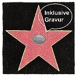 Walk of fame Fußmatte mit Gravur 60 x 60 cm Kokosfaser Fußabtreter Fußvorleger Eingangsbereich Home Dekoration Hollywood Stern Matte Haus Eingang Geschenkidee Geburtstag Geschenk