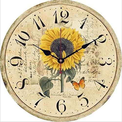 Wanduhr Shabby Vintage-Stil Chic Floral Patchwork Uhr Für Wohnzimmer Schlafzimmer Und Küche Holz Geräuschlose Stumm Wanduhr Ohne Tick Tack Geräusch - Durchmesser: 30 Cm,I
