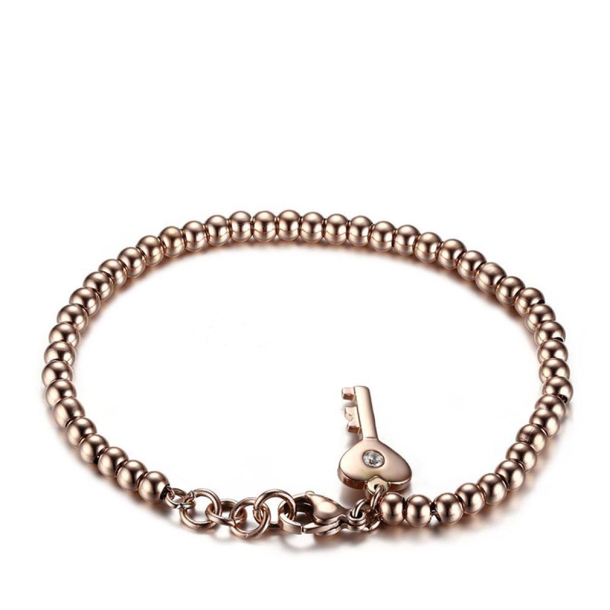 WenL Inossidabile Delle Donne Braccialetto Di Perline In Oro Rosa Lunghezza 19 Centimetri