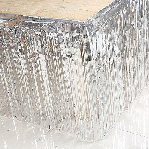 Tisch Schminktisch Rock Kunststoff für Party Tabelle beinhaltet Hochzeit Geburtstag Dekoration Home Decor, 74x 274cm (1Stück) silver 74*274cm