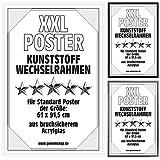 Posterrahmen Wechselrahmen Bilderrahmen Kunststoff Wechsel-Rahmen für Maxi Poster & Plakate 61x91,5cm Weiß
