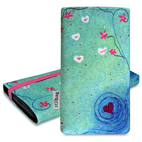 Stilbag Tasche 'MIKA' für Apple iPhone 5s - Design: Schwarze Katze Heart in Flower