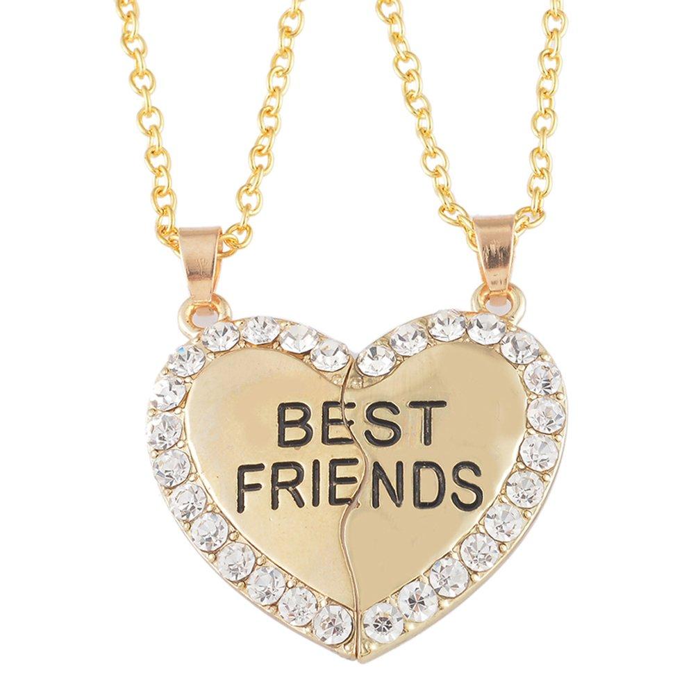 """MJARTORIA Mädchen Kette Gold Farbe mit Gravur """"Best Friends"""" Halskette mit Herz Anhänger Jugendliche Freundschaftsketten 2 Stück Pullover Kette (Gold Farbe)"""