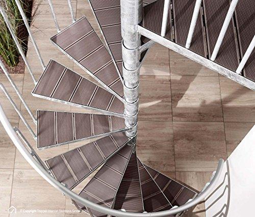 Intercon Außentreppe Stahltreppe K2 Wood Edition WPC Durchmesser 120 / 140 / 160 / 180 / 200 cm Braun
