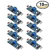 WINGONEER 10Pcs Module numérique de capteur d'intensité lumineuse Photo résistor Photorésistance pour Arduino UNO