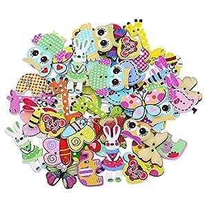 Bluelans® Knöpfe für Kinder Kinderknöpfe Holzknöpfe Knopf Scrapbooking Mischung aus 50 Holzknöpfen in Tierform