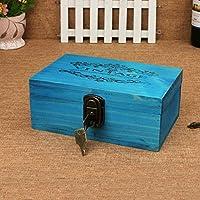 &ZHOU Scatole di legno dell'annata con serrature. desktop di storage box. deposito box. scatola di legno di finitura