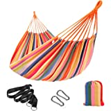 SONGMICS Hammock, 210 x 150 cm, Double Hammock with Fastening Straps and Carabiners, 300 kg Load Capacity, for Terrace, Balco