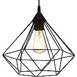 EGLO Lustre TARBES, suspension à flamme vintage au look rétro, matériau : acier, plastique, couleur : noir, douille : E27, Ø