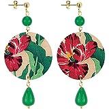 in Lebole Collezione The Circle DPOR16 Fiore Rosso Orecchini da Donna in Ottone Pietra Verde