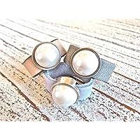 Lederring mit Zamak Element Perle vison, rauchblau oder matt grau, Geschenk Damen