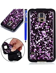 Coque pour Samsung Galaxy S5,Samsung Galaxy S5 Silicone Housse Etui,EUWLY Ultra Mince Paillette TPU Silicone Slim Housse Etui Case Soft Gel Cover Skin Homme Femme Fille Opaque Silicone Soft TPU Silicium Étui Housse Coque Pour Samsung Galaxy S5 Ultra Slim Flexible Soft Gel Protective Case TPU Doux Housse Etui de Protection Coque Coquille Caoutchouc Bumper Résistant aux Rayures Anti Choc Protecteur Cas Couverture pour Samsung Galaxy S5 + 1 x Stylo - Violet