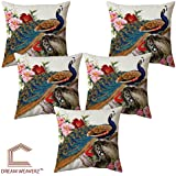 Dream Weaverz Beautiful Peacock Printed Cushion Covers (Set Of 5) With Velvet Fabric - (16*16 Inch)