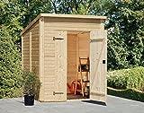 Holzgerätehaus Halesia H4 inkl. Fußboden, naturbelassen - 16 mm Blockbohlenhaus, Grundfläche: 3,10 m², Pultdach