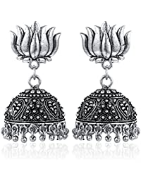 [Sponsored]Yellow Chimes Traditional Earring Collection Oxidized Silver Plated Jhumka Earrings For Women And Girls