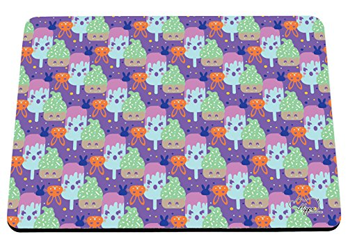 Kawaii Cupcake Kaninchen Muster bedruckt Mauspad Zubehör Schwarz Gummi Boden 240mm x 190mm x 60mm, violett, Einheitsgröße (Pop-art-make-up-kostüm)