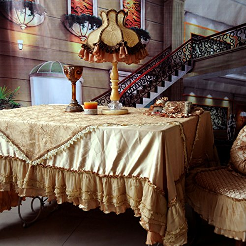 FADFAY Home Textile,Luxury Brand European Style Tablecloths,Elegant Lace Table Cloth Set,Designer Ruffled Lace Overlay Tablecloth
