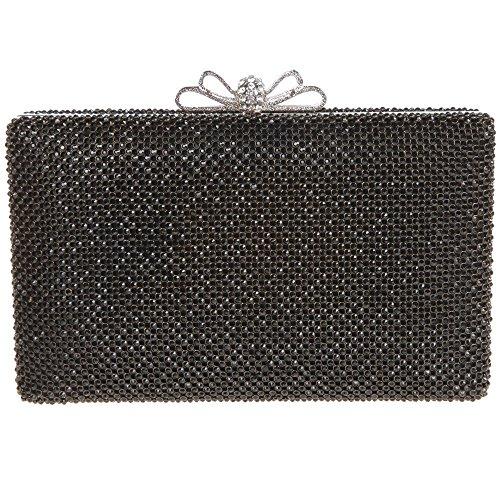 Santimon Donna Pochette Borsa Bowknot Borsellini Strass Diamante Cristallo Festa di Nozze Sera Clutch Borse Con Tracolla Amovibile 2 Colori nero