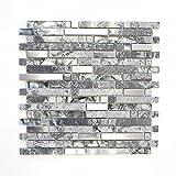 Mosaikfliesen Fliesen Mosaik Küche Bad WC Wohnbereich Fliesenspiegel grau Glas Stein glänzend 8mm Neu #644