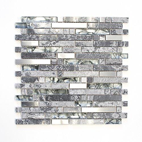 Mosaikfliesen Fliesen Mosaik Küche Bad WC Wohnbereich Fliesenspiegel grau Glas Stein glänzend 8mm Neu #644 -