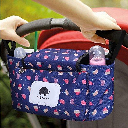 Kinderwagen Organizer, Universale Baby Kinderwagentasche mit Reißverschluss, Unverzichtbares Kinderwagen-Zubehör Aufbewahrungstasche. (Blaue Katze)