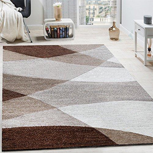 Tappeto di design moderno motivo onde arcuate linee pelo corto mélange marrone, dimensione:80x150 cm