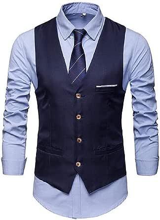 GRMO Men Pockets V-Neck Single-Breasted Formal Business Dress Separate Waistcoat