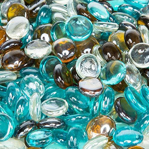 Stanbroil 4,5 kg 1/2 Feuerglas-Tropfen in Karibikblau, Kristalleis, Karamell-Lack für Innen- und Außenbereich, Gas-Feuerstellen und Kamine -