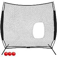 VEVOR Red de Entrenamiento para Béisbol 2.1 x 2.1m, Red de Entrenamiento de Bateo Portátil 2.1 x 2.1m, Material Entrenamiento, Red Beisbol, Red Bateo Beisbol, Red de Beisbol, Color Negro