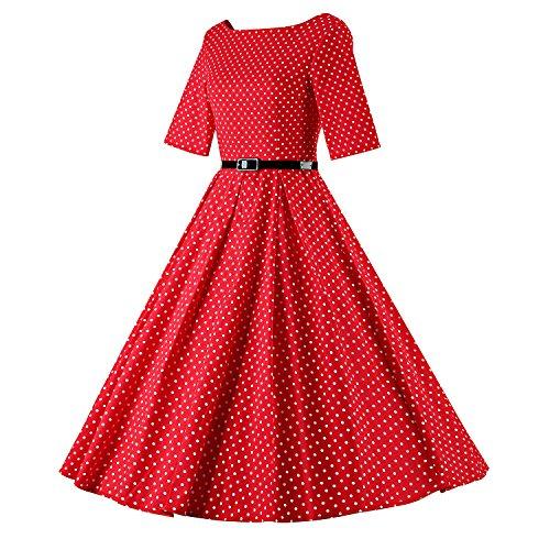LUOUSE Vintage Rockabilly style,Retro Années 50, Jupe, Swing,Pin up ,Parfaite Pour Soiree Dansante EU-V075-Rouge