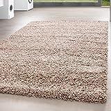 *Teppich* für Wohnzimmer günstig hochflor Shaggy Teppich mit verschiedenen Farben und Größen* Teppiche werden mit 100% PP Headset hergestellt. Gesamthöhe des Teppichs circa 30 mm. , Farbe:Beige, Größe:80x150 cm