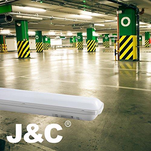 J&C Feuchtraumleuchte 60cm 18W LED Tube Deckelampe 4000K Wasserdicht IP65 leuchtröhre AC220V-240V PC Badleuchte 1500LM Kanalbeleuchtung Ra>80 SMD 2835 Wegbeleuchtung für Nassraum Garten Parkplatz - 9