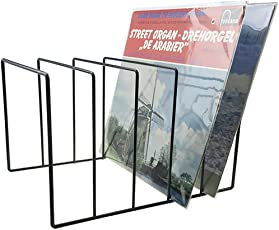 Record-Happy Vinyl Record Storage Holder Stand - Vinyl Coated Metal Wire Rack Holds up to 50 Album Lp's - Premium Display, Simple and Contemporary Concept Design for 12' Records