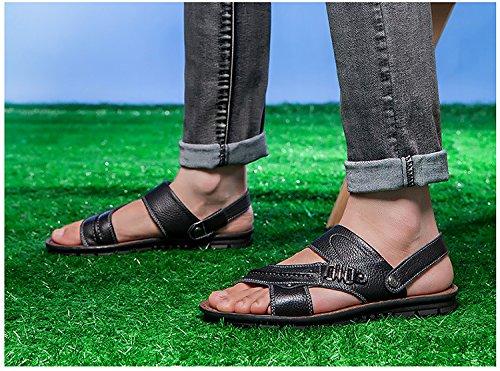 H&W Herren Leder Offen Zeh Sandalen mit Beweglich Fesselriemen Schwarz