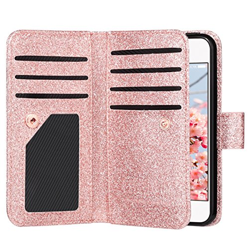 ULAK iPhone 5S Hülle, iPhone SE Brieftasche Hülle Luxus Premium Synthetik Leder 9 Card Slots Stand Brieftasche Fall mit Handschlaufe für iPhone 5 5S SE (Bling Roségold) (Luxus Iphone 5 Fall)
