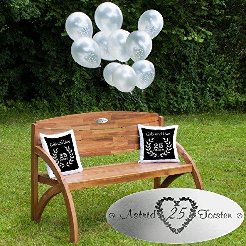 Silberhochzeit Set Kissen Dunkelrot - Gartenbank Holz mit personalisierter Gravur, Luftballons und Zwei Kissen - persönliche Geschenke zur Silberhochzeit