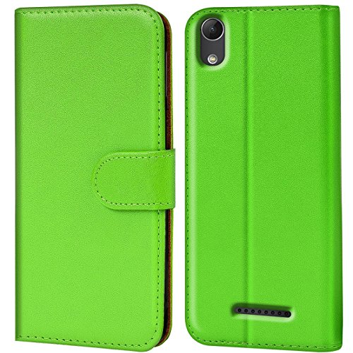 Verco Lenny 4 Hülle, Handyhülle für Wiko Lenny 4 Tasche PU Leder Flip Case Brieftasche - Grün