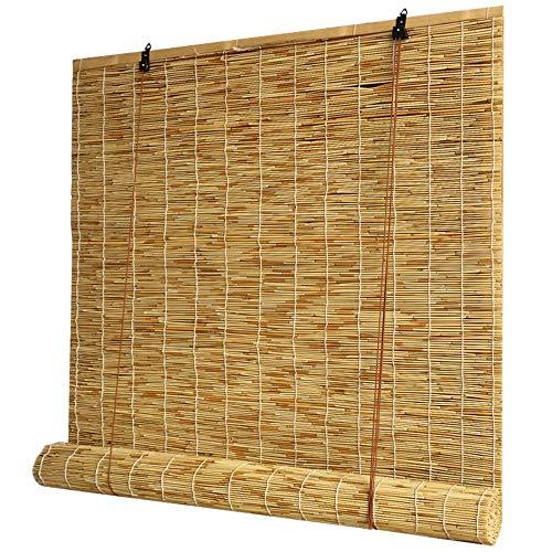 Koovin Persianas enrollables de bambú, persianas de caña, Cortinas de Paja Naturales Resistentes a la Lluvia, persianas de Ventana Tejidas a Mano para Exteriores/jardín/Interiores
