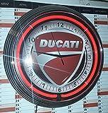 Neonuhr - Ducati Motorcycle - Neonfarbe - Rot Garage Zeichen, Wanduhr Reklame Neon Uhr / Neon Clock