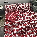 inforwarm Bettwäsche-Set Vierteiliges Bettwäsche-Set für Studentenwohnheime mit Vier Sätzen à 180 * 220 cm - Rotes Mädchenherz K_Quilt-Bezug 200 * 230 cm bettbezug tumbrl