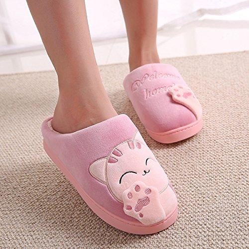 Cliont Nette Katze Hausschuhe Indoor Winter Hausschuhe Rutschfeste Schuhe Weihnachtsgeschenk Für Frauen und Männer Rose