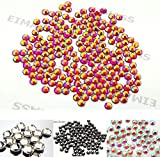 45 Colours 5 Sizes, EIMASS® 7767 DMC Hot Fix Glass Rhinestones, Flat back Gems, Diamante with Glue Backing, Pack of 1440 Crystals