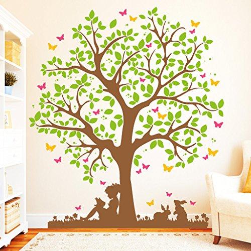"""Wandtattoo Loft """"Baum mit Mädchen auf Wiese mit Hasen und Schmetterlingen (4farbig)"""" / BITTE TEILEN SIE UNS IHRE WUNSCHFARBEN IM ANSCHLUSS AN DIE BESTELLUNG PER NACHRICHT MIT!!! / Wandaufkleber / 54 Farben / 3 Größen / / 170 cm hoch x 149 cm breit"""