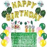 Easy Joy Summer Party Decoration Tropical Anniversaire Deco Ananas Decofatif Happy Birthday Ballon Or + Tropical Feuille Artificielle + Nappe Metallique a Frange Vert + Summer Photobooth