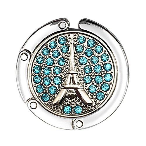 jewelbeauty Strass Eiffelturm Reise Folding Bag Geldbörse Handtasche Tabelle Haken Aufhänger Halter Decor himmelblau - Handtasche Aufhänger Tabelle