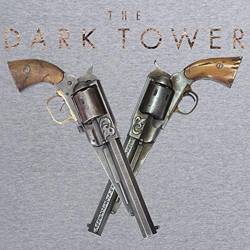 Official The Dark Tower Gunslinger Pistols T-Shirt, Herren Grau Meliert
