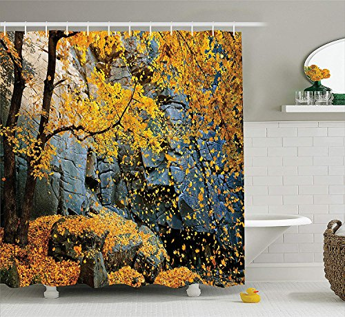 Mucuum Leaves Decor Shower Curtain Set Canadian Maple Trees Falling Leaves Down Surrounded by Scenic Rocks Stones Foliage Decor Bathroom Accessories Blue Yellow -
