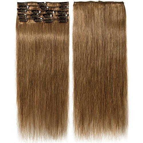 Extension capelli veri clip 8 fasce remy human hair extensions clip lisci lunga 16 pollici 40cm pesa 65grammi, #6 castano