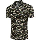 MRULIC Herren Persönlichkeit Männer Casual Camouflage Schlank Kurzarm Printed Shirt Top Bluse